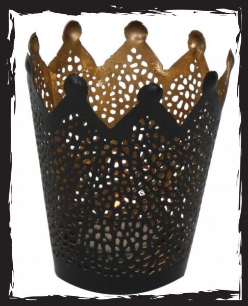 Windlicht Krone gold/schwarz