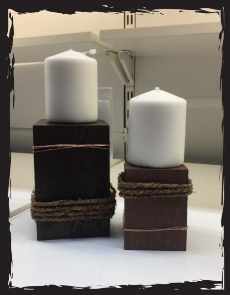 Kerzenständer Urchig Holz Set 2 Stk